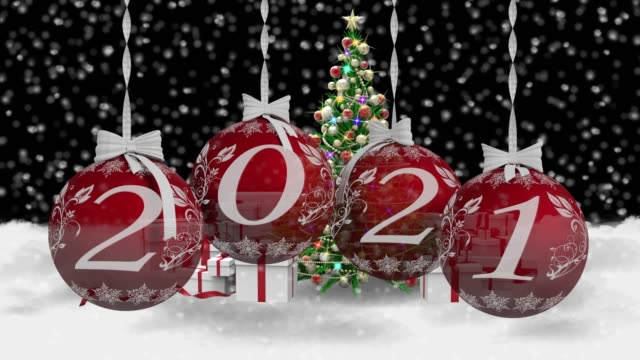 New Year 2021. Christmas decoration advent 2021 - Movie. 3D illustration. Movie. 3D illustration. New Year 2021. New Year 2021 Christmas decoration announcing the new year. happy new year 2021 stock videos & royalty-free footage