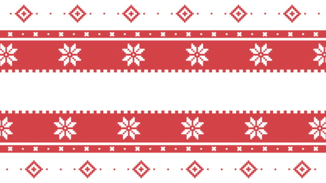 new year and merry christmas festive traditional lapland vector pixel pattern for holiday - snowflake background stock videos & royalty-free footage