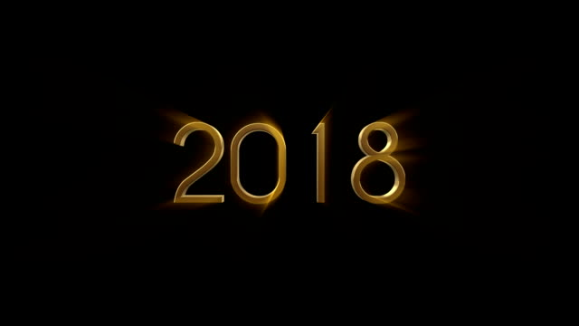 2018 New Year animation. Gold 3D animation video