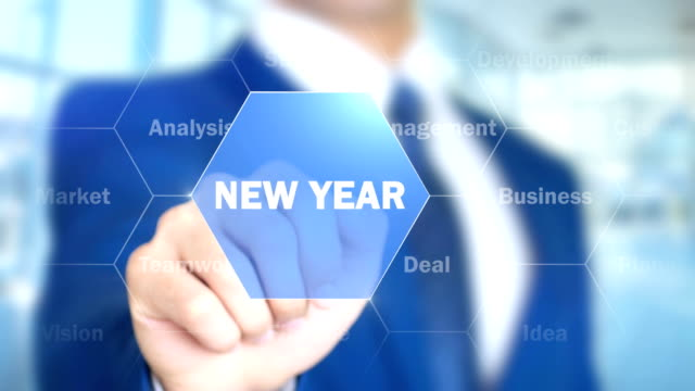 New Year, Businessman working on holographic interface, Motion Graphics video