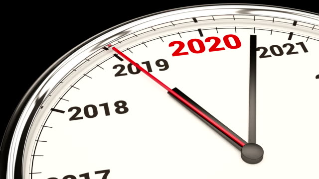2020 new year clock. hd video with alpha channel - new years stock videos & royalty-free footage