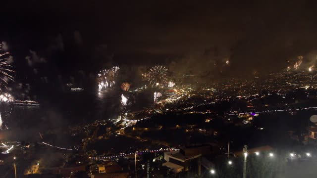 New year fireworks in the capital of Madeira island, Funchal city New year fireworks in the capital of Madeira island, Funchal city funchal stock videos & royalty-free footage