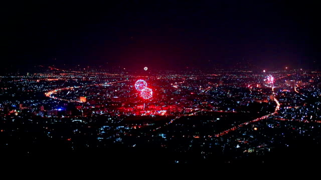 New Year Fireworks Over City in Chiangmai, Thailand video
