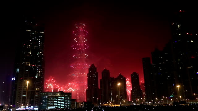 new year fireworks show at Burj khalifa in Dubai video