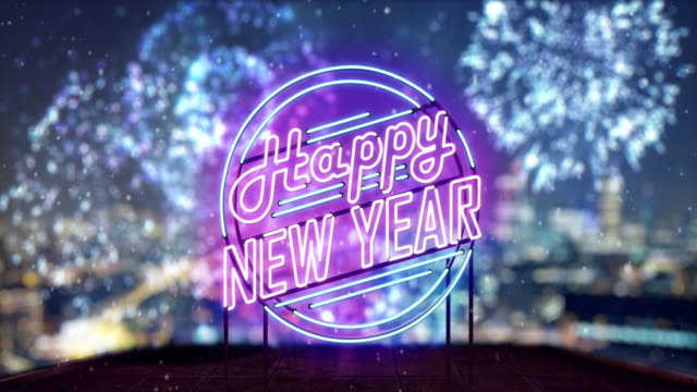 new year neon sign - treedeo christmas stock videos & royalty-free footage