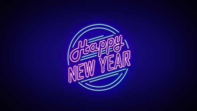 new year neon sign - new years stock videos & royalty-free footage