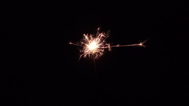 New year party sparkler on black background video