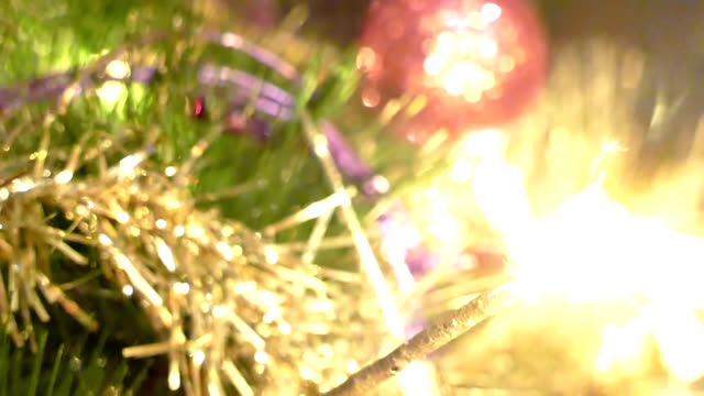 New Year Sparks On A Beautiful Christmas Tree video