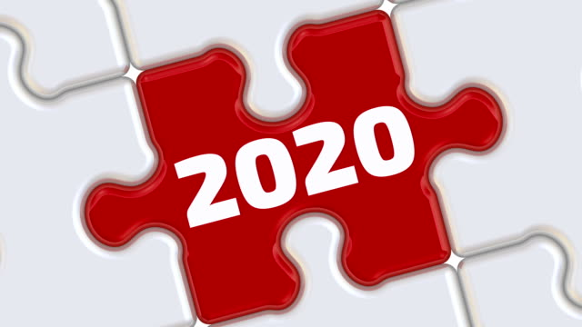 New year. The inscription on the missing element of the puzzle Folded white puzzles elements and one red with number of year 2020 falls into its place with the number of the year 2019. Footage video 2020 stock videos & royalty-free footage