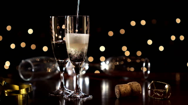 New year toast champagne, Christmas lights background video