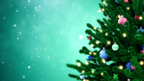 New Year tree with falling snowflakes Decorated New Year tree and falling snowflakes christmas tree stock videos & royalty-free footage