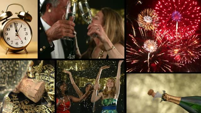 Año nuevo celebración, montaje de vídeo - vídeo