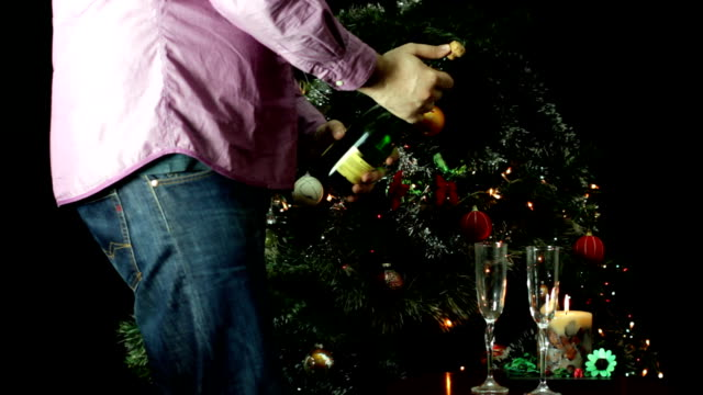 New Year's champagne opening New Year's champagne opening cork stopper stock videos & royalty-free footage