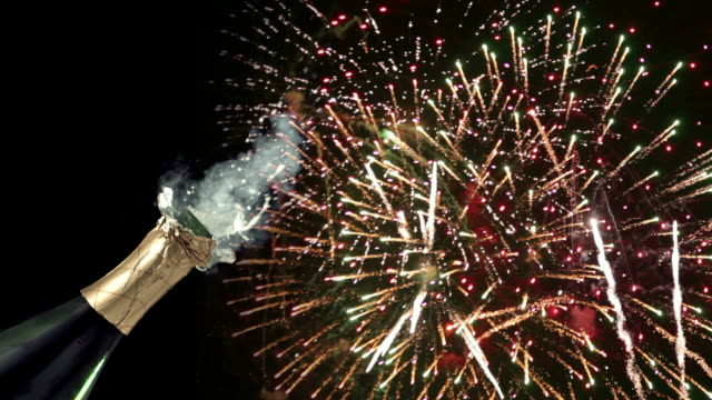 new years eve champagne and fireworks video