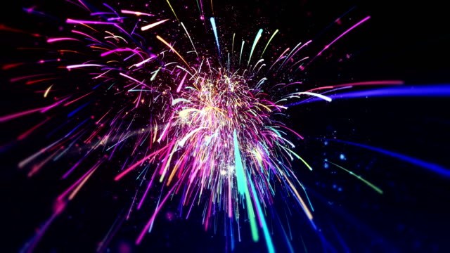 New Year's Eve fireworks - abstract animation