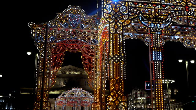 New Year's illumination RUSSIA, MOSCOW - DECEMBER 27, 2017: Light festive illumination near the Bolshoi Theater in Moscow in December 2017 in Moscow Russian Federation russian culture stock videos & royalty-free footage