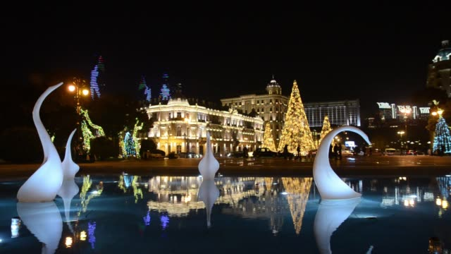 New Year's night Baku decorated with light and patterned Christmas tree.Azerbaijan