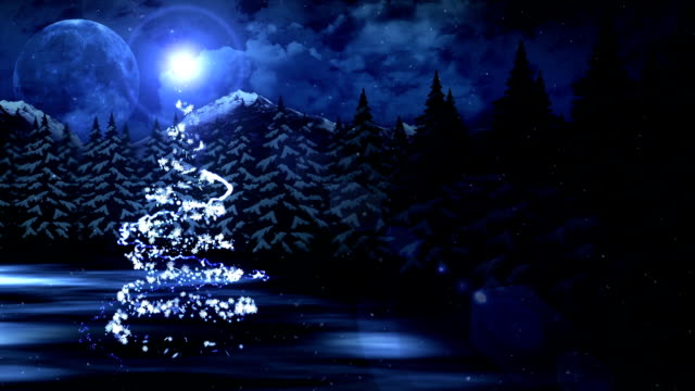 New Year's Snow Christmas and the Moon, Loop CG Animation, video
