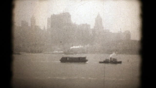 New York 1927, 16mm Film (HD1080) Rare original 16mm footage of New York City Manhattan on arrival from UK aboard a White Star liner in 1927. From family archive. 20th century stock videos & royalty-free footage