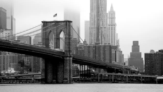 new york - brooklyn bridge and lower manhattan - black and white architecture stock videos & royalty-free footage