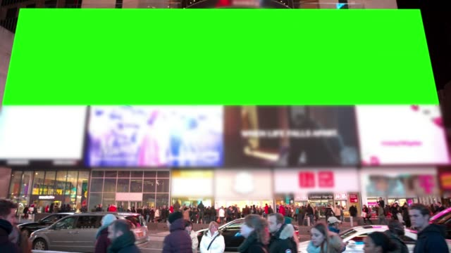 New York chromakey winter Time Square people crowd green screen video