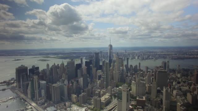 New York City 4k Aerial Drone Skyline Brooklyn Bridge One World Trade Center Freedom Tower Daytime Downtown Manhattan Hudson River 24fps
