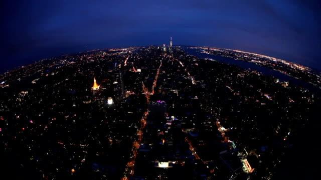 New York City amazing skyline at night - aerial view video
