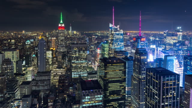 New York City and Times Square Aerial Night Timelapse video