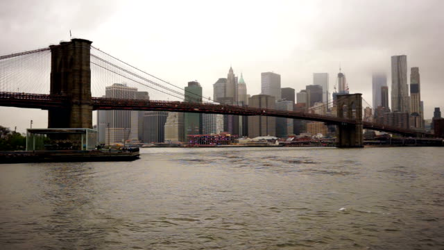 New York City Brooklyn Bridge East River Manhatten Skyline video
