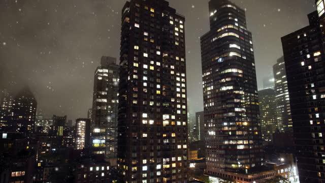 New York City buildings in winter video