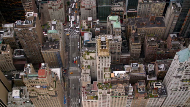 new york city buildings, overhead aerial shot - new york architecture stock videos & royalty-free footage