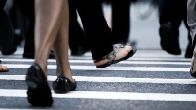 New York City Crosswalk closeup during rush hour video