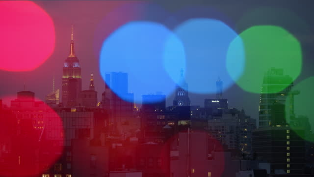 New York City Dusk Christmas lights Party Happy New Year video