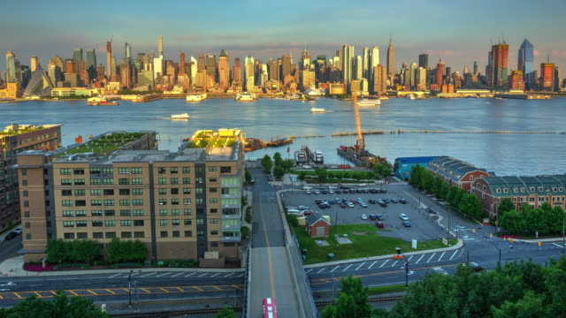 New York City Manhattan 2017 cityscape skyscraper high buildings sunset video