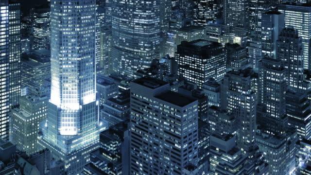 ニューヨーク空から見たマンハッタンの街並みの眺め - 都市 モノクロ点の映像素材/bロール