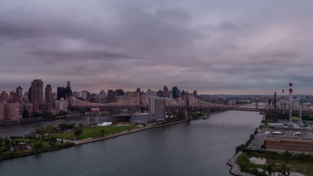 New York City Queensboro Bridge Day to Night Sunset Timelapse video