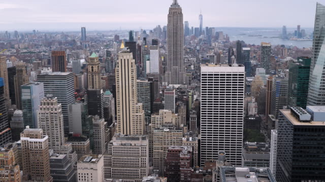 New York city rooftops aerial view - video