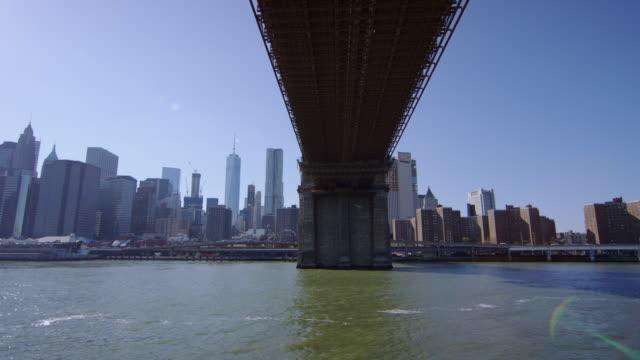 New York City seen from under the Brooklyn Bridge