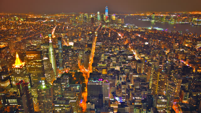 New York City Skyline - Midtown and Empire State Building New York City, New York State, USA. wide angle stock videos & royalty-free footage