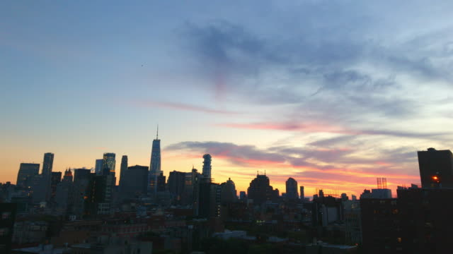 New York City Skyline Night Sunset View video