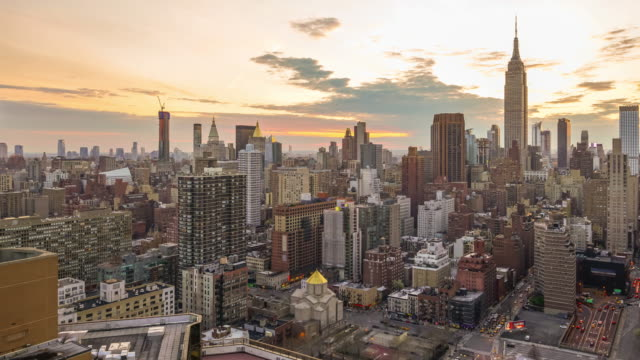 New York City skyline with urban skyscrapers at sunset. video