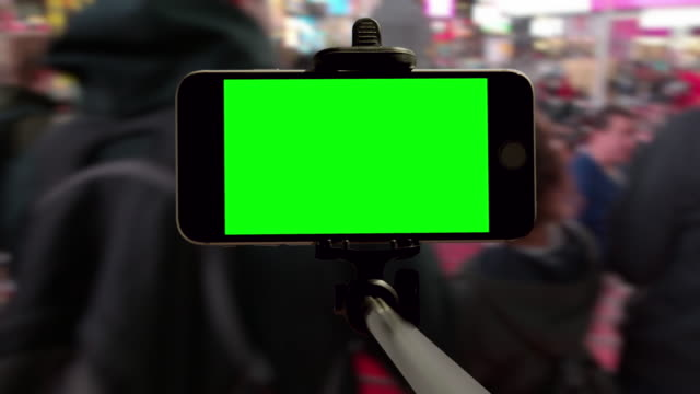 New York City Time Square people selfie green screen POV video