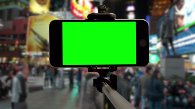 New York City Time Square selfie POV green screen chromakey video