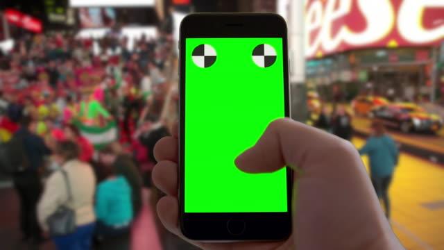 New York City Time Square POV texting green screen chromakey video