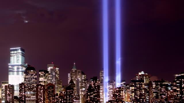 new york city tribute in lights - minnesmärke bildbanksvideor och videomaterial från bakom kulisserna