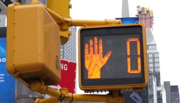 4K: New York City Yellow Walk sign Countdown