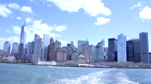New York Financial District Skyline From Boat video