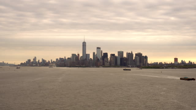 New York Harbor and Manhattan at Dawn video
