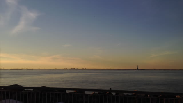 New York harbor sunset time-lapse video
