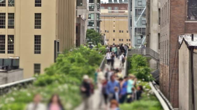 new york highline zoom - urban gardening stock-videos und b-roll-filmmaterial